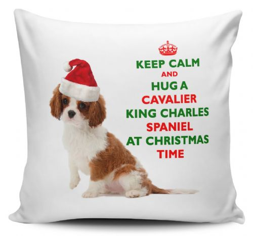 Christmas Keep Calm And Hug A Cavalier King Charles Spaniel Novelty Cushion Cover